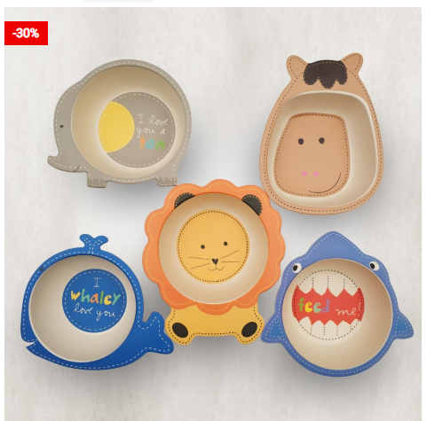 Bamboo Kids Plate Non-Toxic Tableware For Children